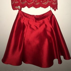 a red two piece